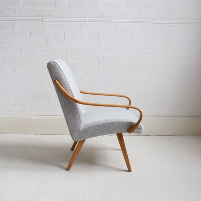 Image of Midcentury armchair in Grey wool
