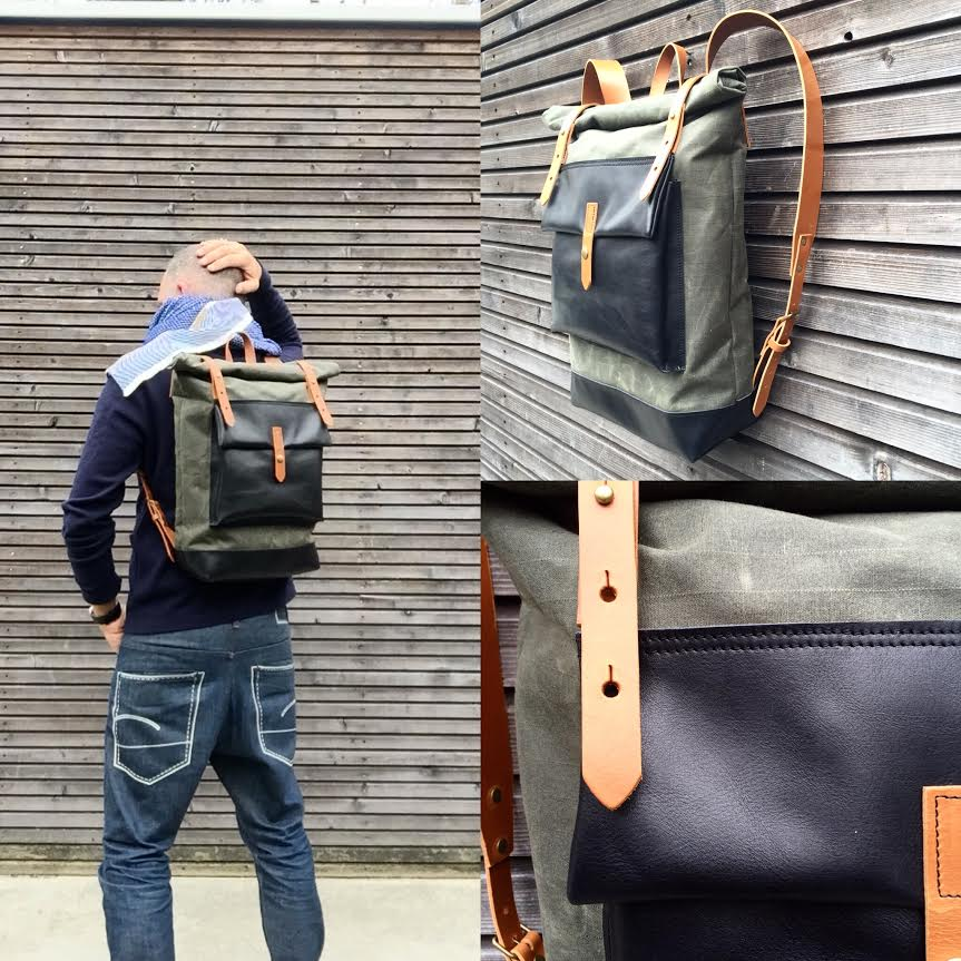 Image of Waxed canvas rucksack / backpack with roll up top and oiled leather bottem