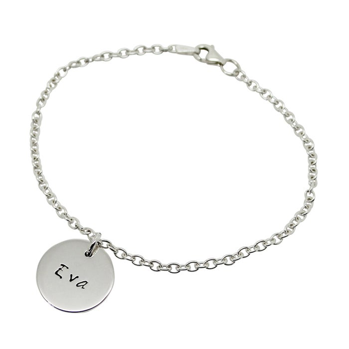Image of Personalised small sterling silver circle bracelet