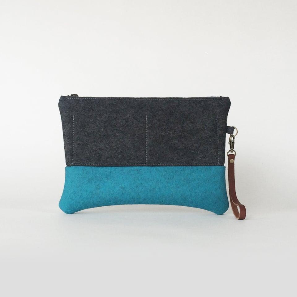 Image of Zipper Clutch Charcoal & Cerulean