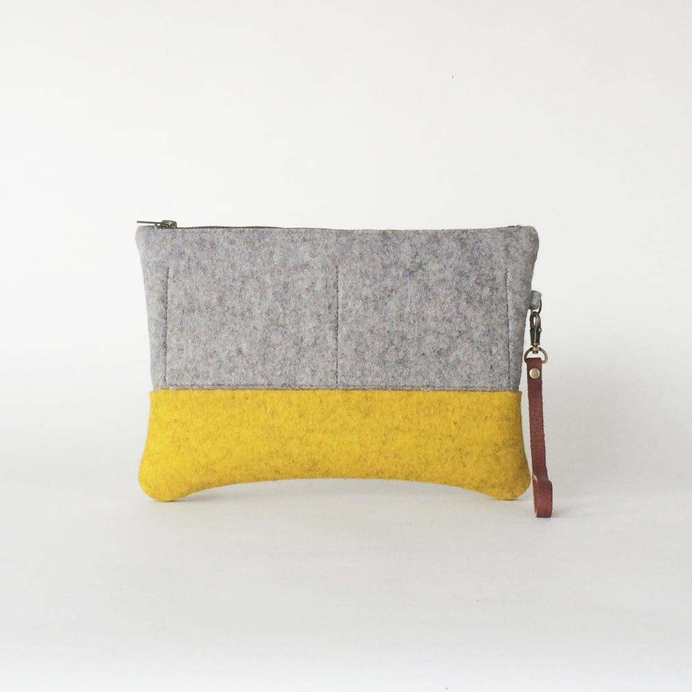 Image of <strong>Zipper Clutch</strong> Ash & Yellow Ochre