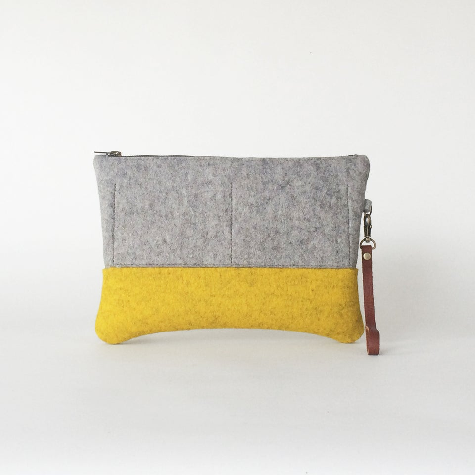 Image of Zipper Clutch Ash & Yellow Ochre