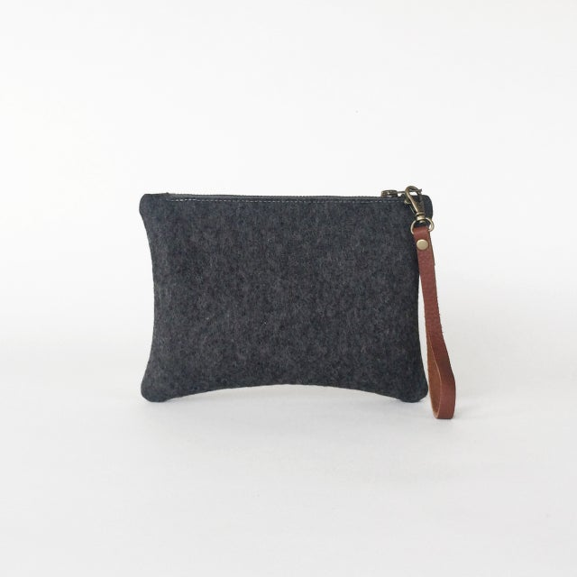 Image of Zipper Wristlet Charcoal