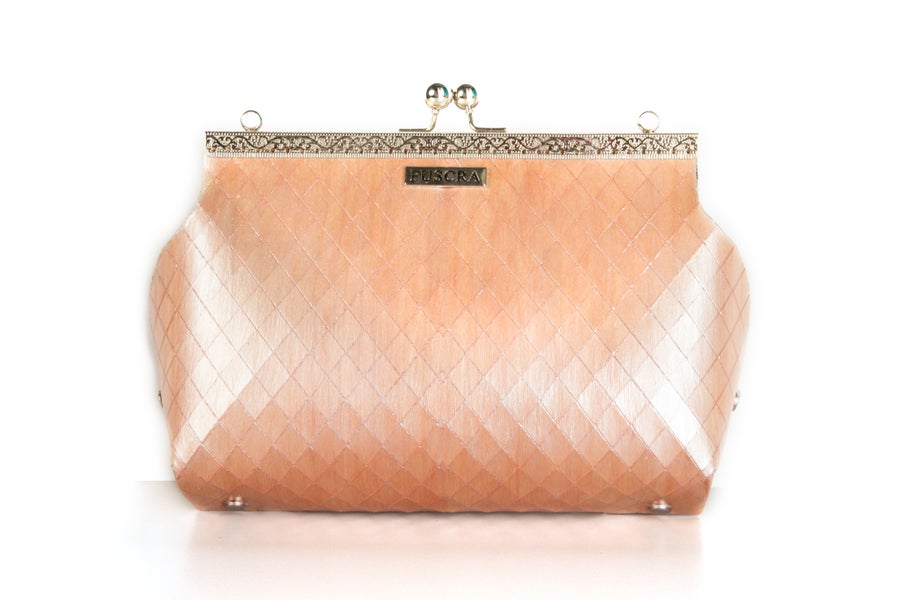 Image of BAG IN WOOD SOPHIA - SIZE M AND L - PINK COLOR