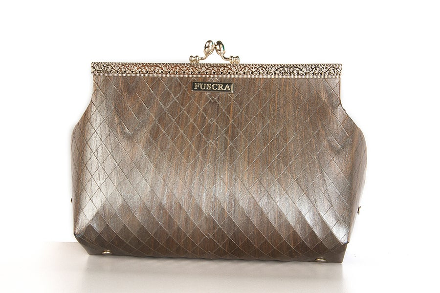 Image of BAG IN WOOD SOPHIA - SIZE M AND L - SILVER COLOR