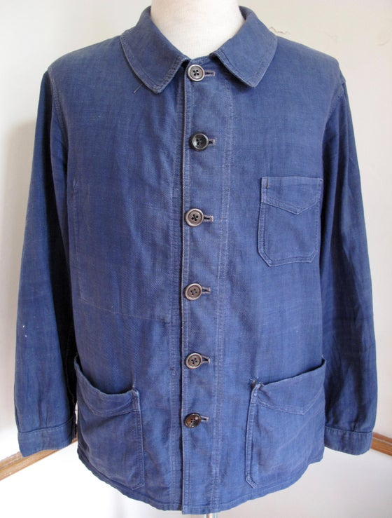 Image of <b>Early 1900's Vintage Indigo Métis Linen & Cotton French Work Jacket</b>