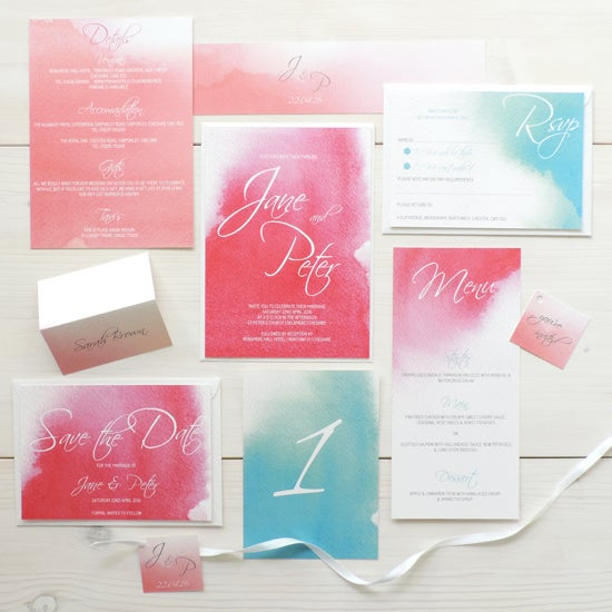 Image of Love Haze Bespoke Wedding Invitation and RSVP Personalised Bundle