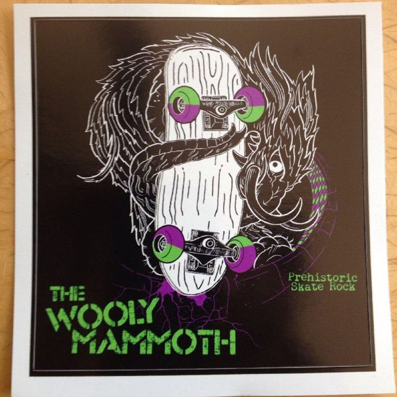 Image of The Wooly Mammoth and The Eggplants Skate Rock Band Sticker