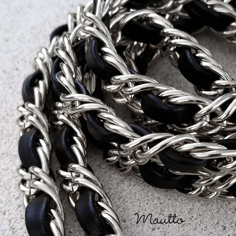 Image of Petite NICKEL Chain Strap with Leather Weaved Through - Double Curb Chain - Choice of Length & Hooks