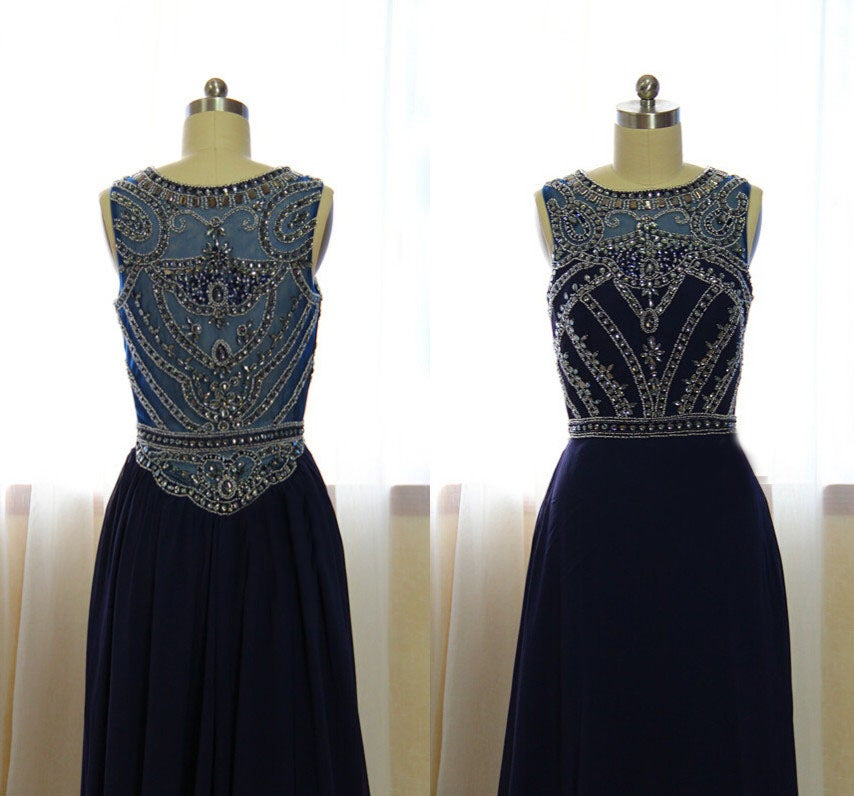 Charming Navy Blue Long Beaded Prom Dress 2017, Prom Gowns, Party Dresses