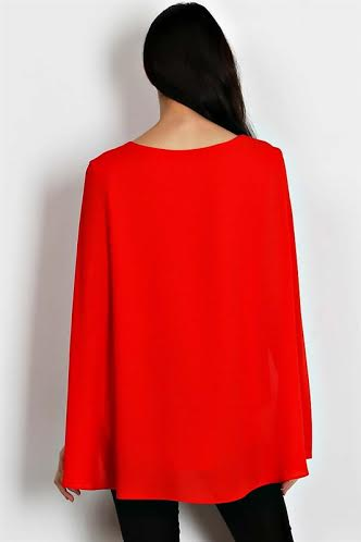 Image of Red Cape Blouse