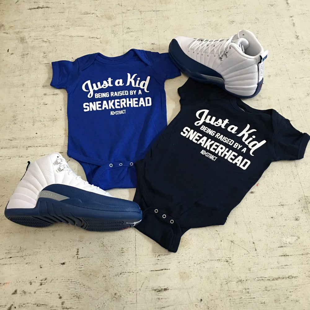 "Image of JUST A KID BEING RAISED BY A SNEAKERHEAD ""BLUE/NAVY"" (INFANT)"
