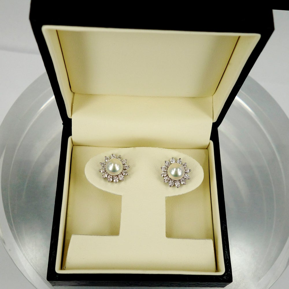 Image of Stunning Diamond & Pearl Earrings