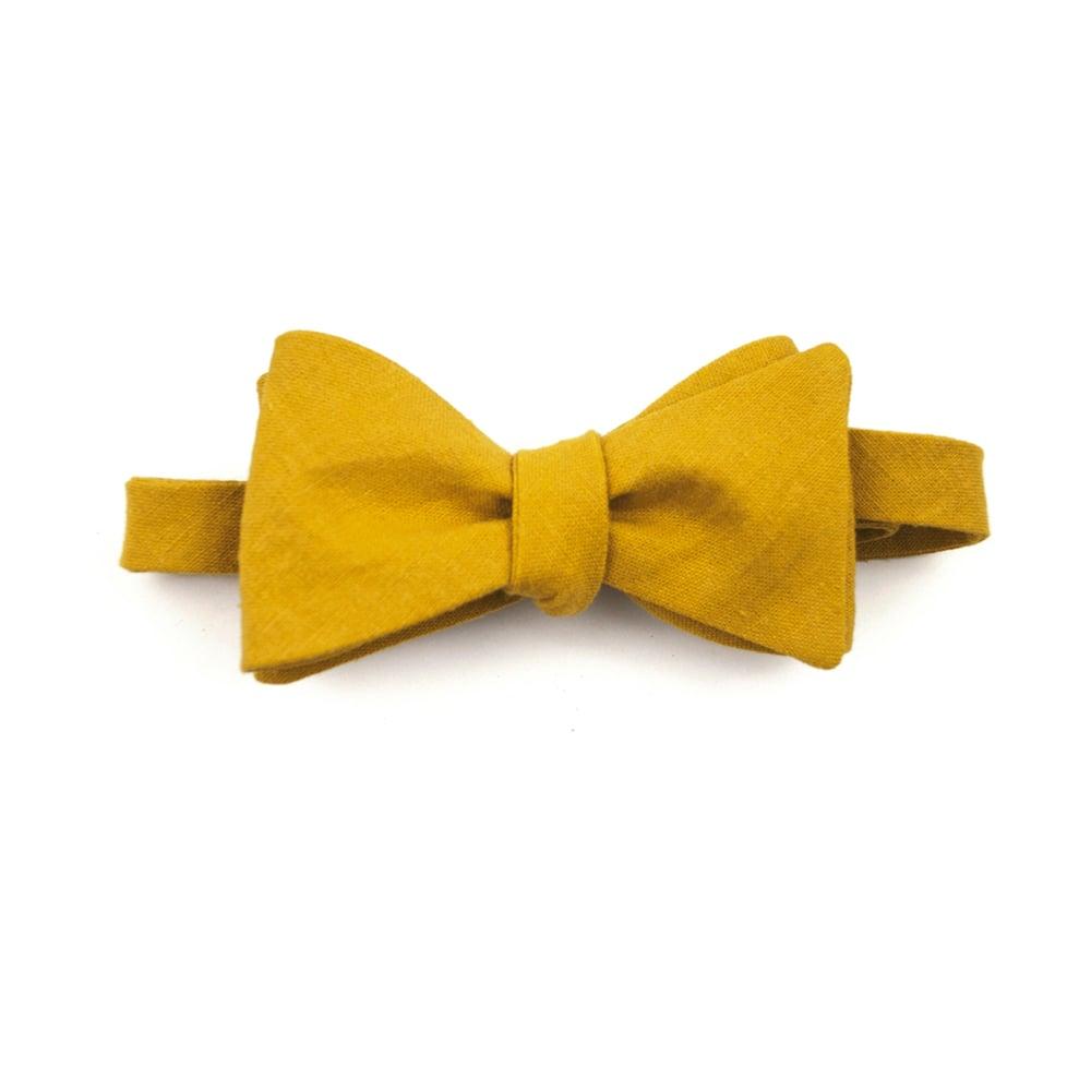 Image of Mustard Linen Bow Tie