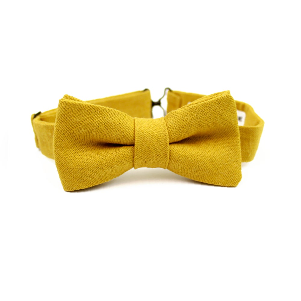 Image of Mustard Linen Kids Bow Tie