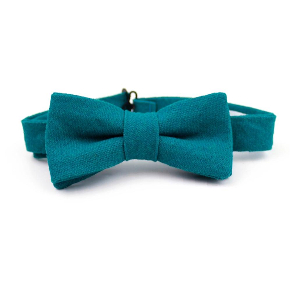 Image of Teal Linen Kids Bow Tie