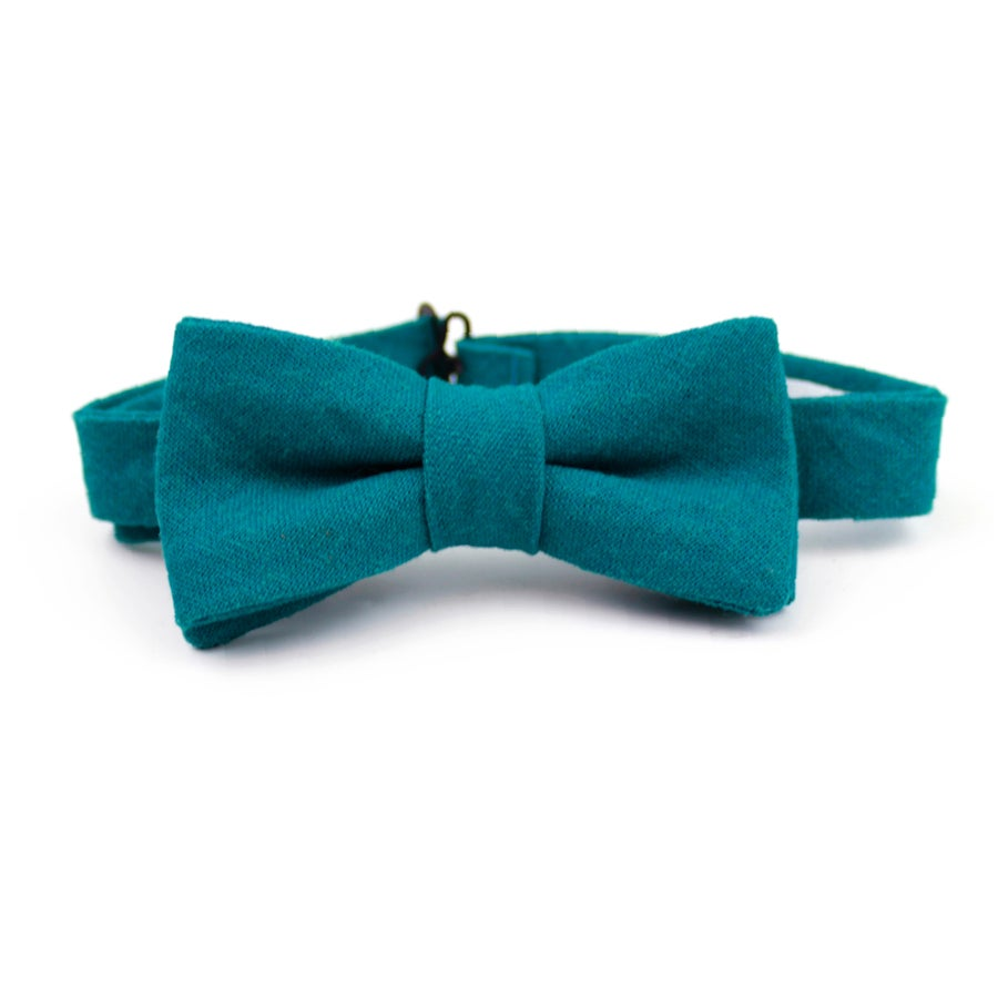 Image of Teal Linen Kids Bow Tie