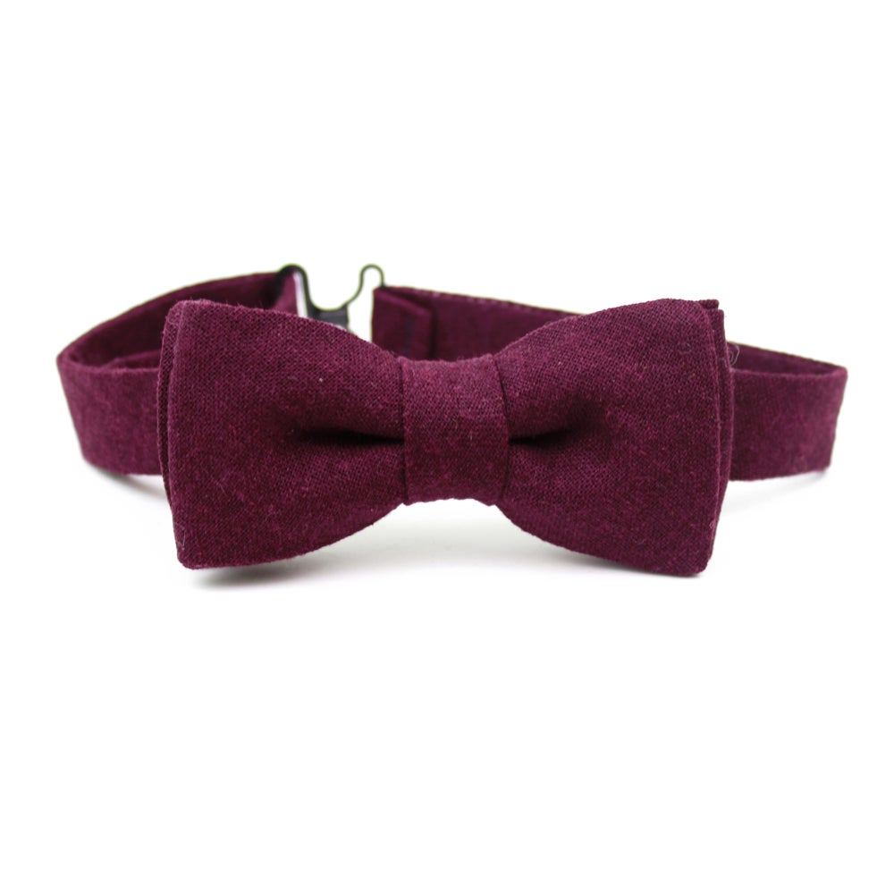 Image of Eggplant Linen Kids Bow Tie