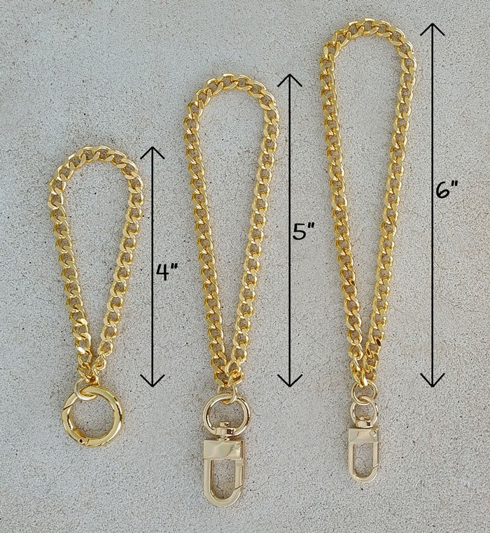 "Image of GOLD or NICKEL Chain Wrist Strap - Mini Classy Curb Diamond Cut - 1/4"" Wide - Choose Size & Hook"