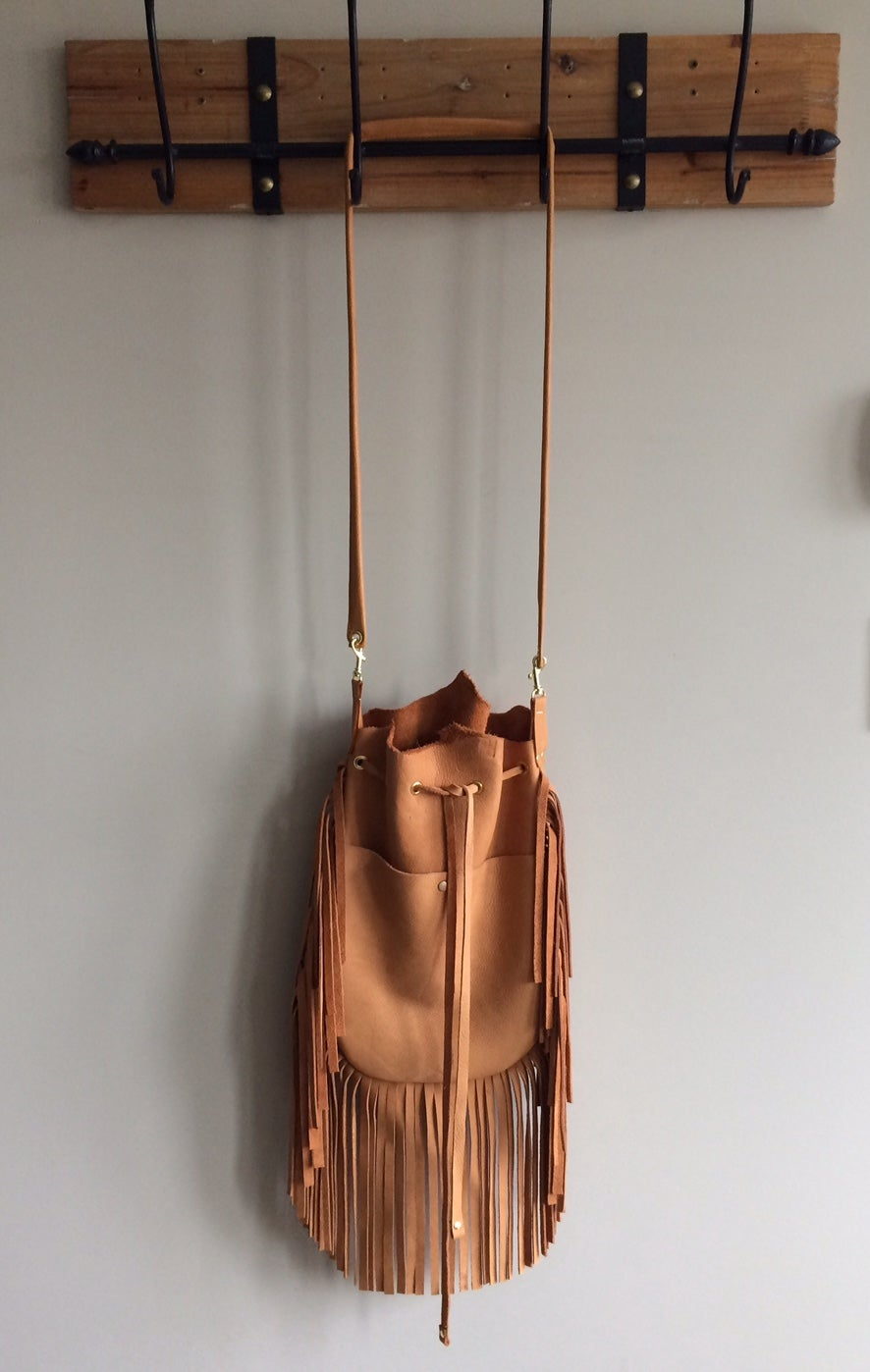 Image of oversized cognac Stevie crossbody