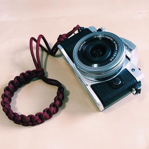 Image of Burgundy adjustable camera wrist strap