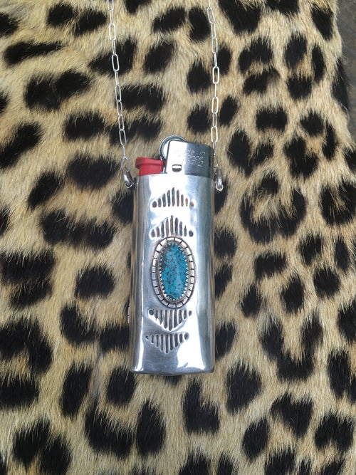 Image of REVERSIBLE SONORA CACTUS AND TURQUOISE MINI LIGHTER NECKLACE