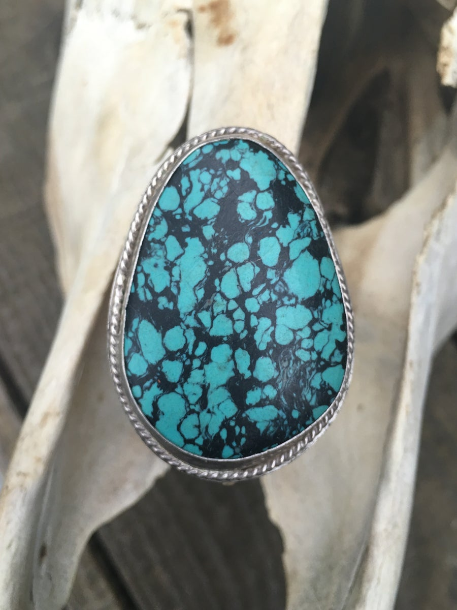 Image of X-LARGE TURQUOISE AND STERLING RING