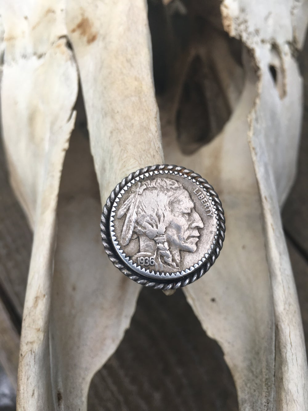 Image of 1936 BUFFALO HEAD NICKEL HEADS UP RING