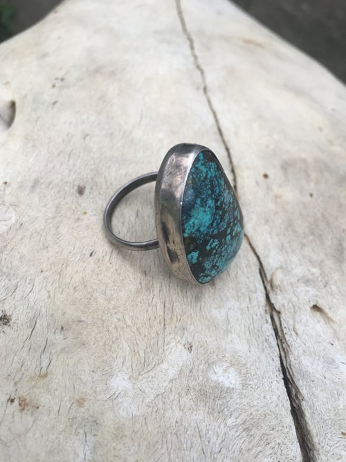 Image of SPIDERWEB TURQUOISE AND STERLING SILVER RING