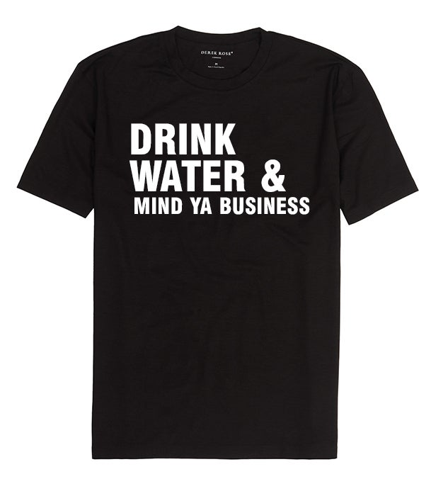 Drink water & mind ya business (Men's) Black t shirt