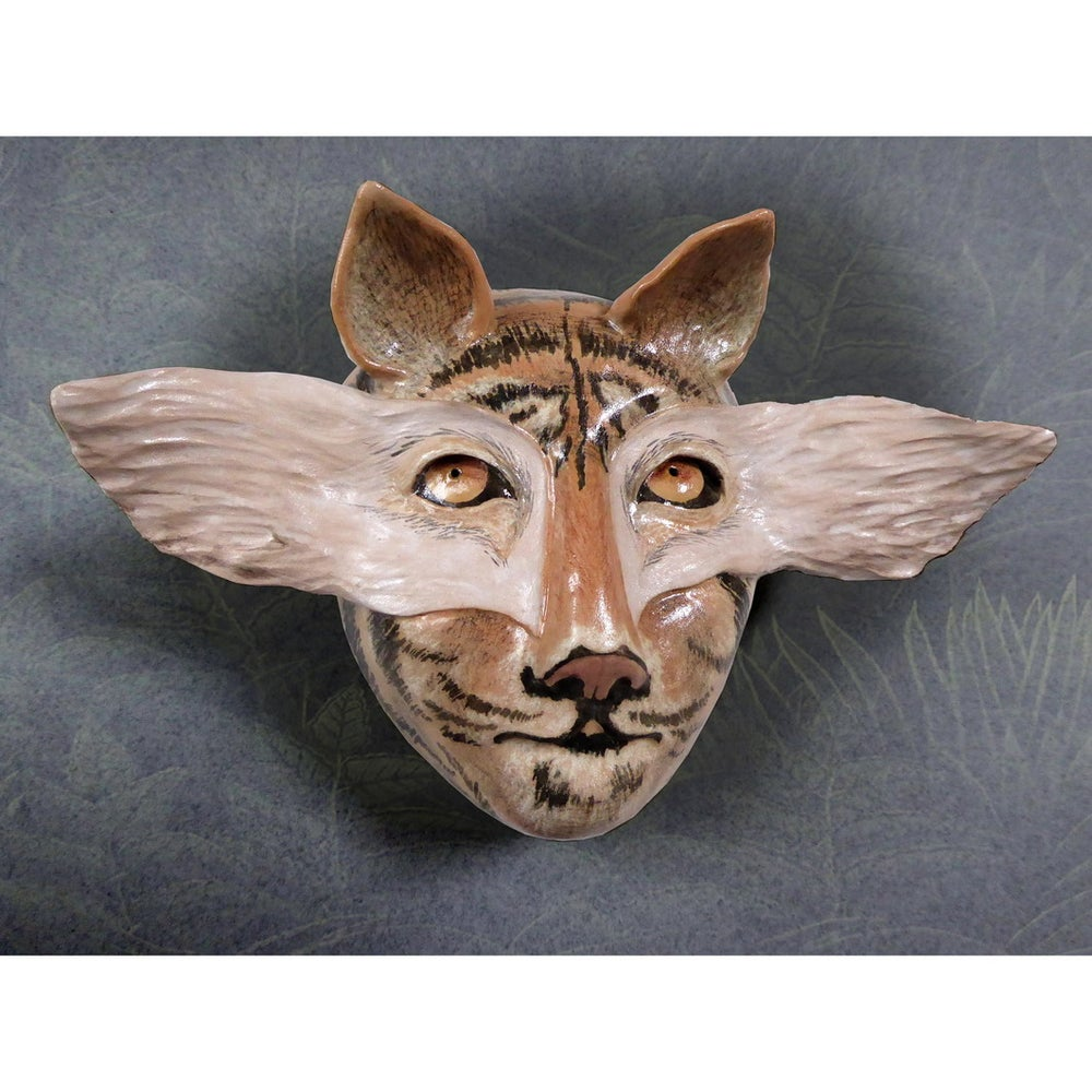 Image of When Kitty Goes A-Hunting - Stoneware Wall Mask - Original Mask Art