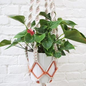 Image of Large Spiral Macramé Plant Hanger - Orange