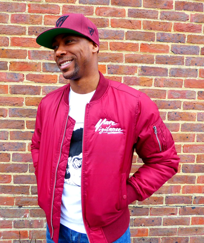 Image of Burgundy Bomber Jacket