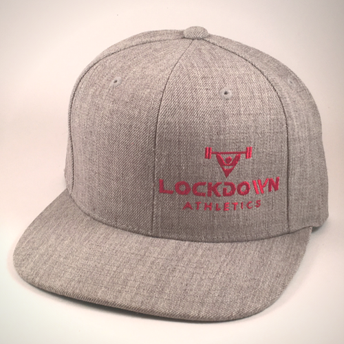 Image of Heather Grey Snapback Cap w/Red Logo (offset)