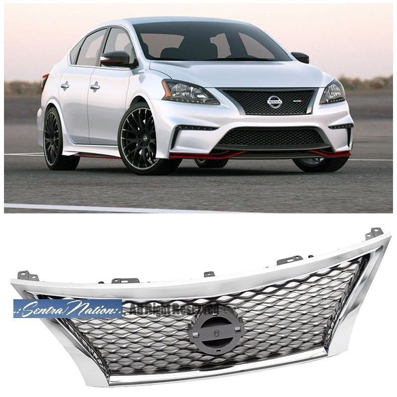 Image of (B17) 13-15 Sentra/Nismo style Sports Mesh Grill (fit ALL TRIM fit ALL TRIM S,SL,SR,SV)