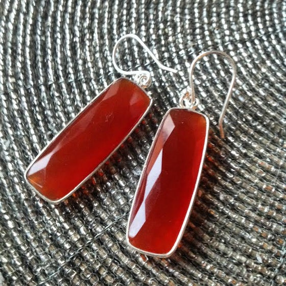 Image of Align your Power ~ Sterling Silver Diamond Cut AA Carnelian Dangle Earrings