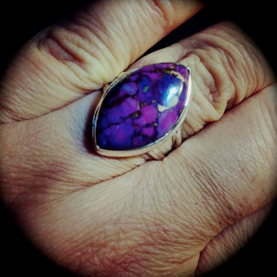 Image of Rare Purple/Copper Turquoise Sterling Silver Ring