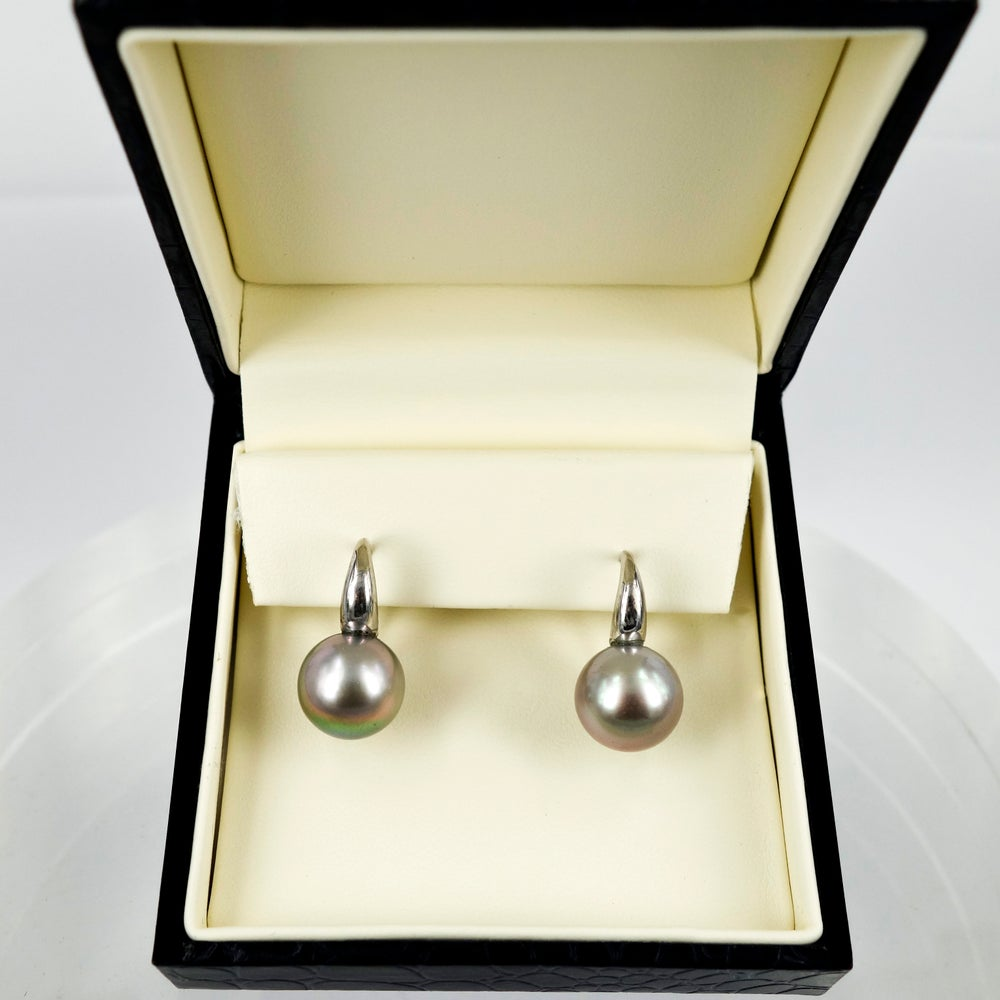 Image of CP0558 18ct White Gold 12mm Tahitian Pearl Drop Earrings