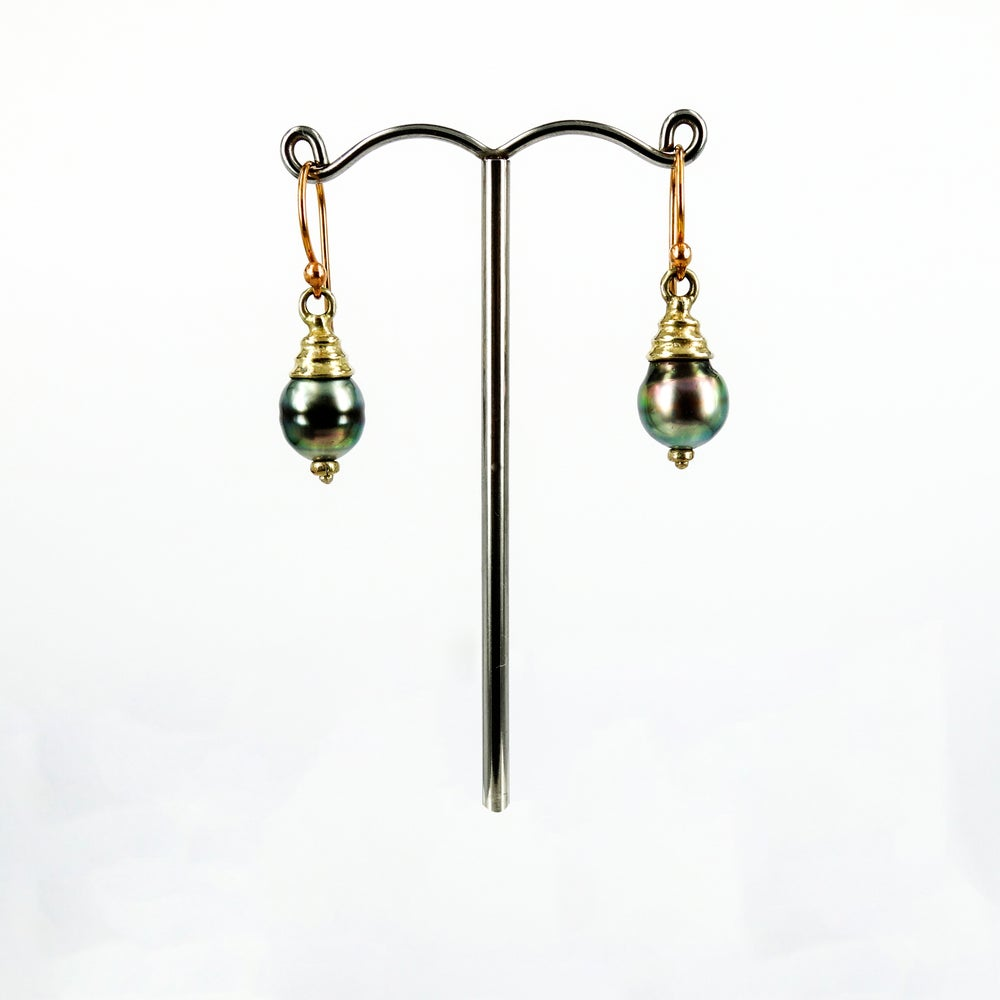 Image of 9ct Yellow & Pink Gold Tahitian Pearl Drop Earrings