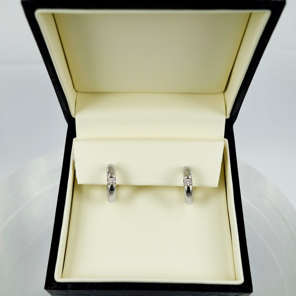 Image of 9ct White Gold Diamond Set Small Hoop Earrings