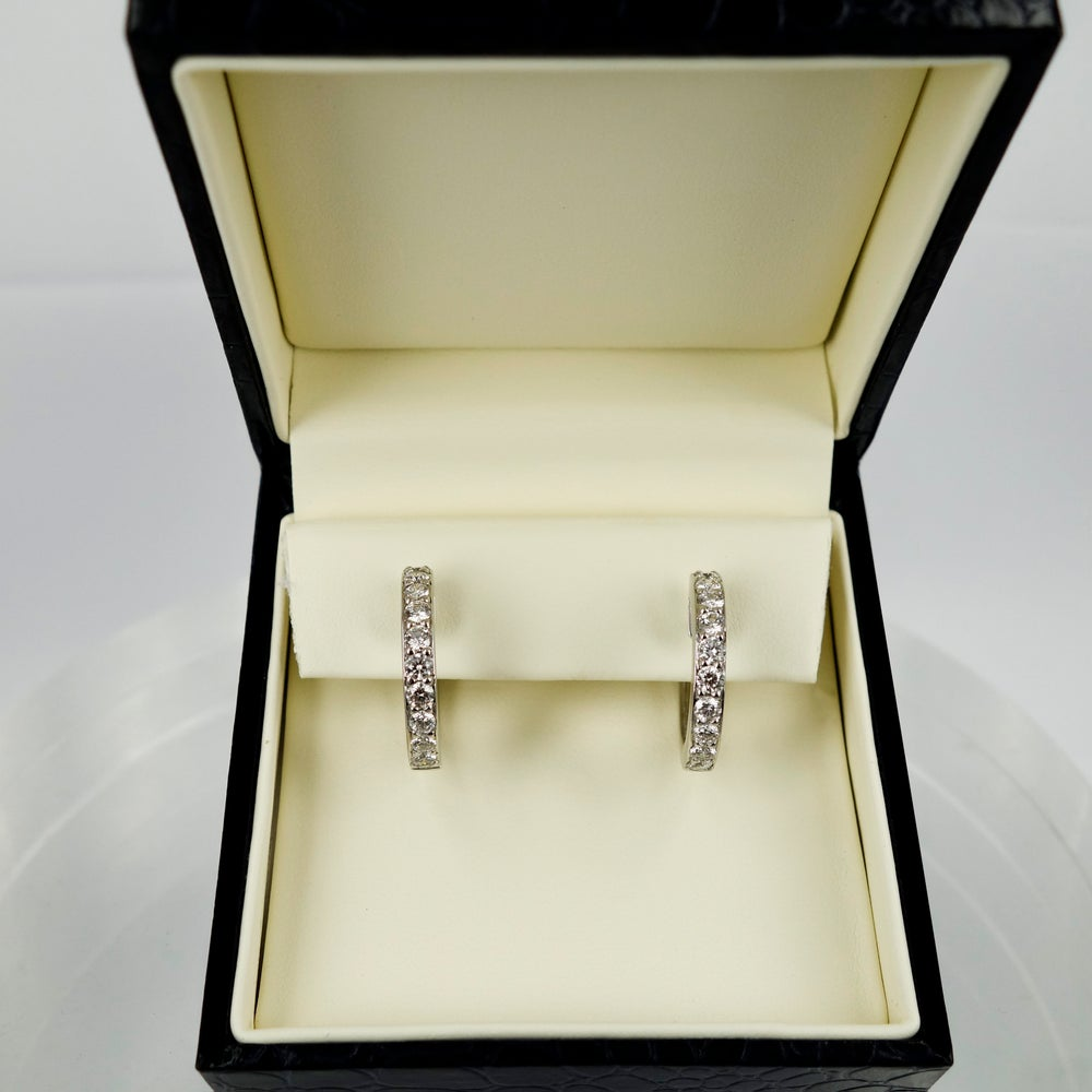 Image of 18ct White Gold Diamond Set Hoop Earrings