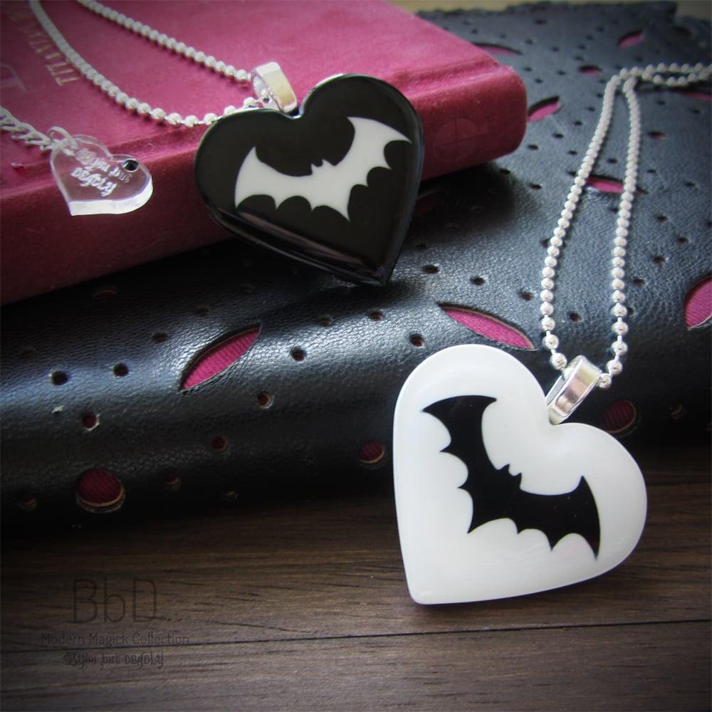 Heart and Bat Resin Pendant