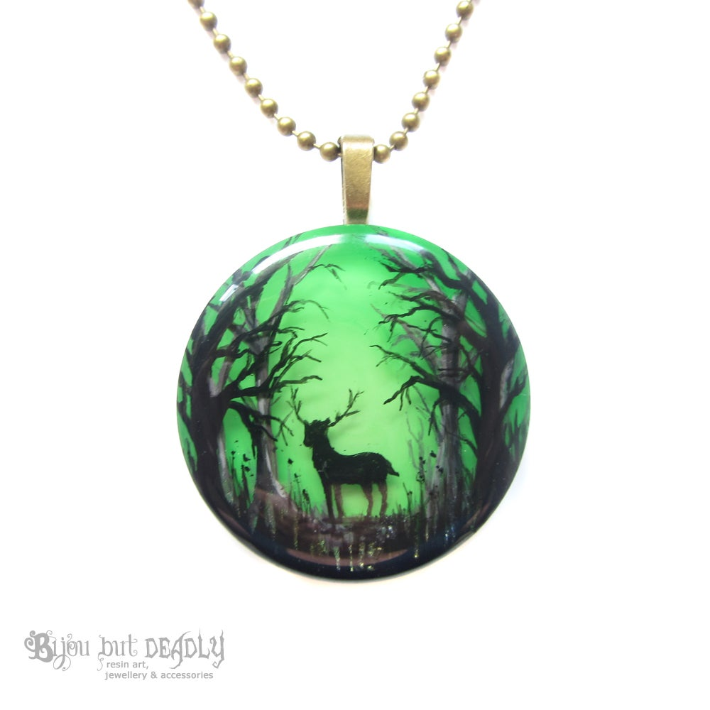 Stag in Enchanted Forest Pendant