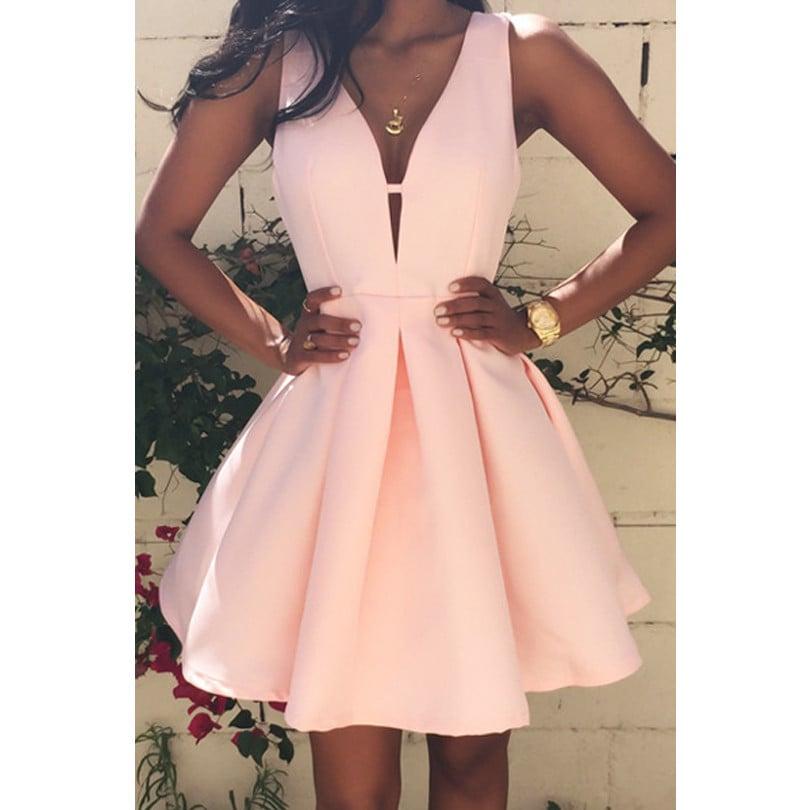 Vestido Mini Coctel Color Rosa Pastel