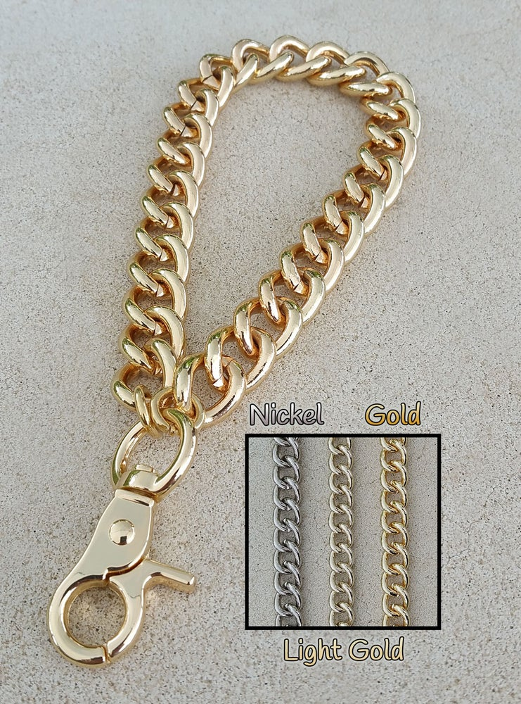 """Image of GOLD, LIGHT GOLD or NICKEL Chain Wrist Strap - Large Classy Curb - 7/16"""" Wide - Choose Size/Hook"""