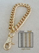 "Image of GOLD, LIGHT GOLD or NICKEL Chain Wrist Strap - Large Classy Curb - 7/16"" Wide - Choose Size/Hook"