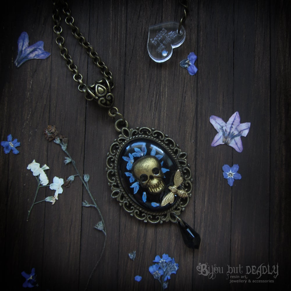 Forget-me-not Skull Cameo Necklace