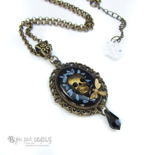 Image of Forget-me-not Skull Cameo Necklace