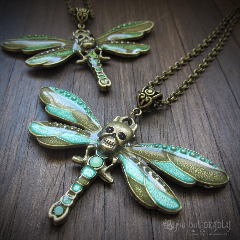 Skull Dragonfly Enamel Necklace