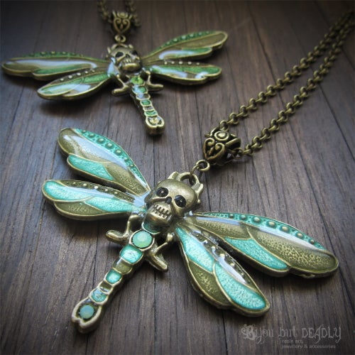Image of Skull Dragonfly Enamel Necklace